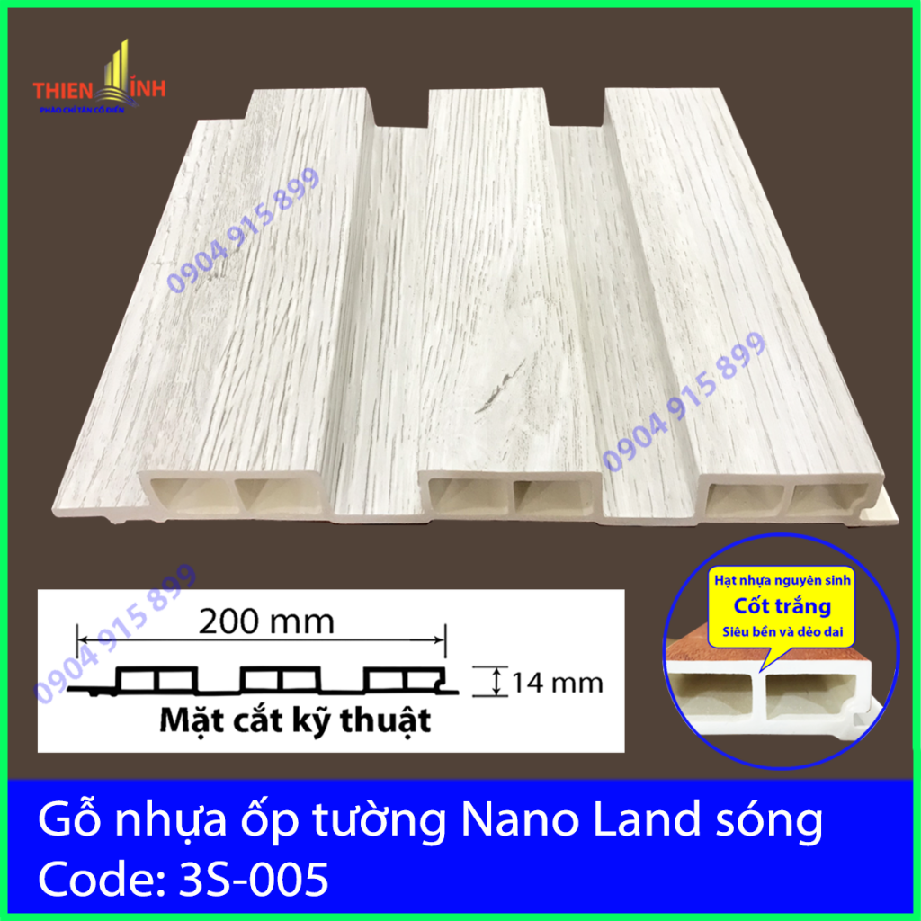 Gỗ nhựa ốp tường Nano Nand sóng 3S-005