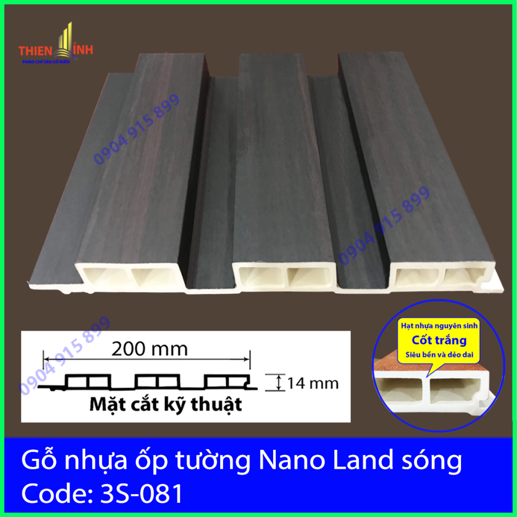 Gỗ nhựa ốp tường Nano nand sóng 3S-081