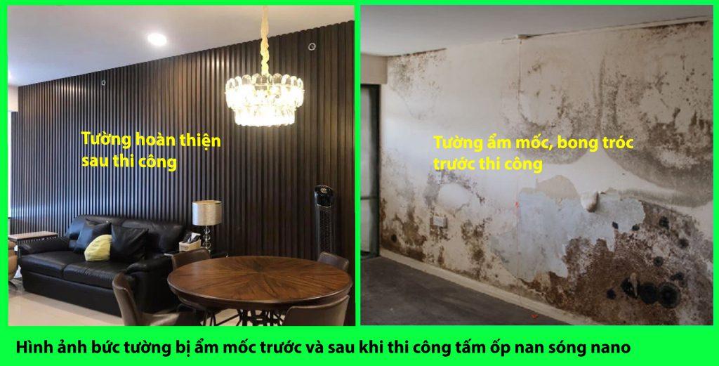 Hình ảnh bức tường bị ẩm mốc trước và sau, thi công hoàn thiện tấm ốp nan sóng
