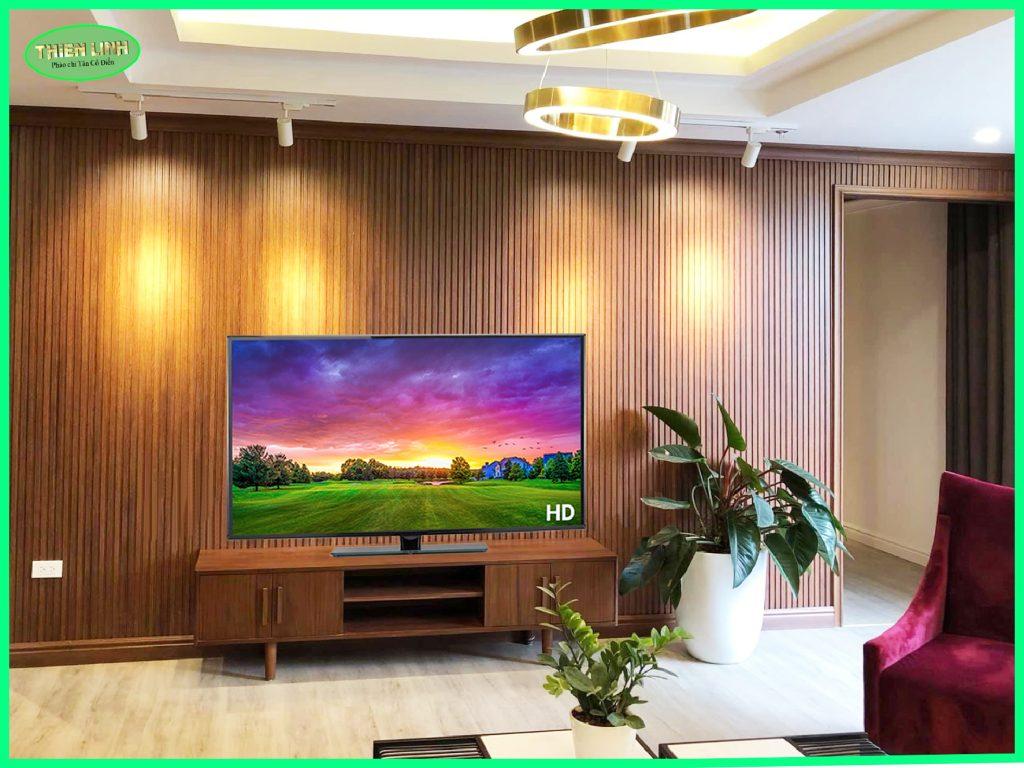 Tấm ốp trang trí Nano nan sóng thi công hoàn thiện Phòng khách