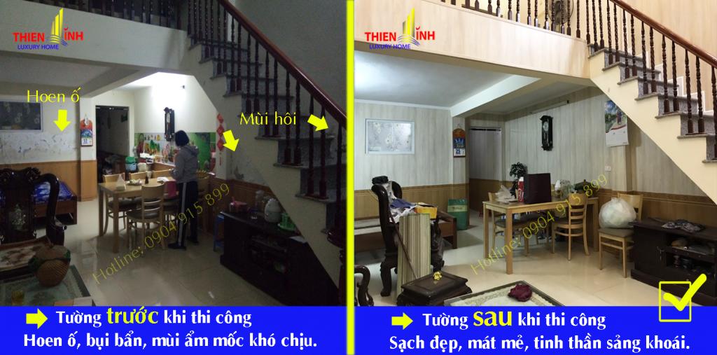 Hình ảnh trước và sau khi thi công tấm nhựa gỗ NaNo chống ẩm