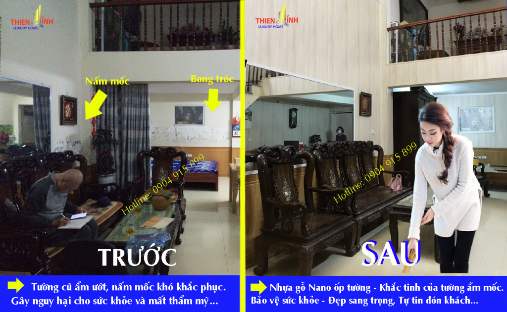 Hình ảnh trước và sau khi thi công tấm nhựa gỗ PVC Nano