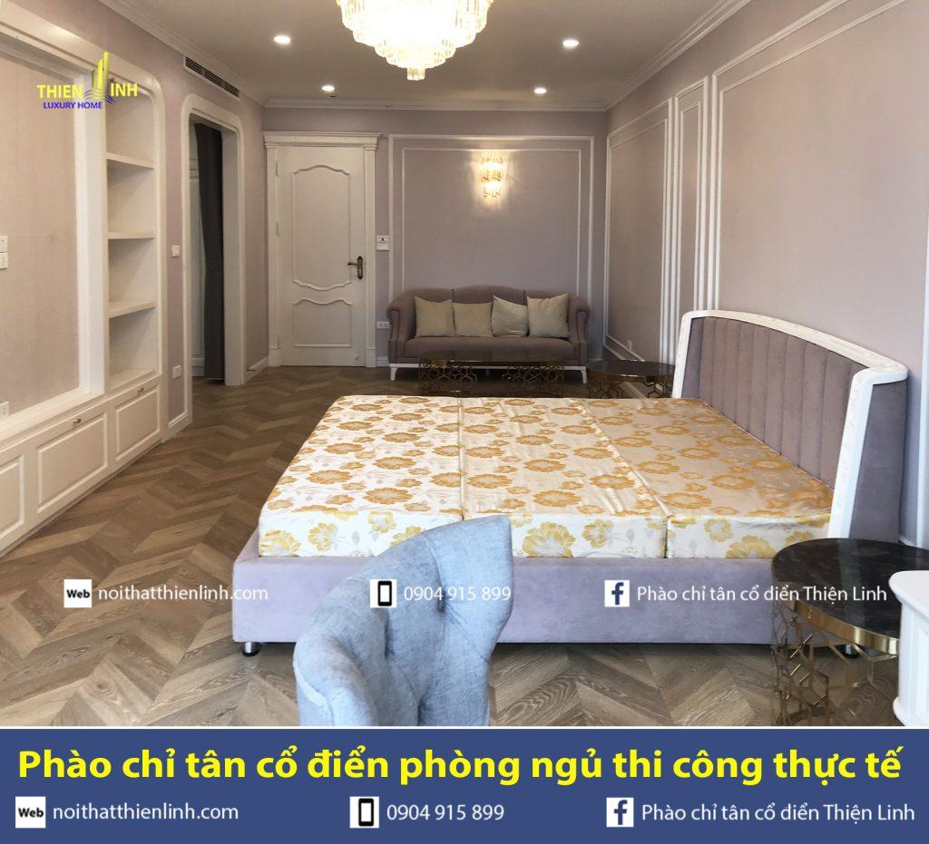 Phào chỉ tân cổ điển phòng ngủ thi công thực tế (1)