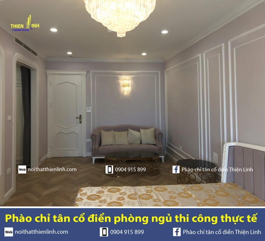 Phào chỉ tân cổ điển phòng ngủ thi công thực tế (2)