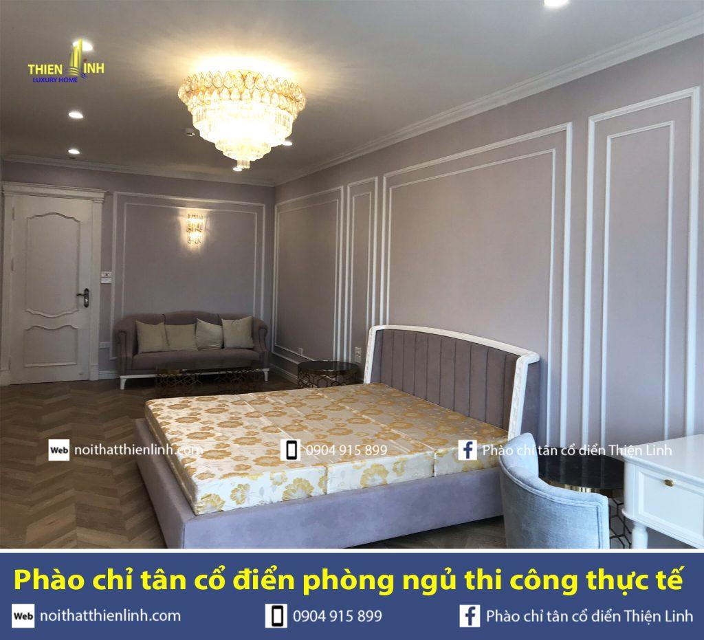 Phào chỉ tân cổ điển phòng ngủ thi công thực tế (3)