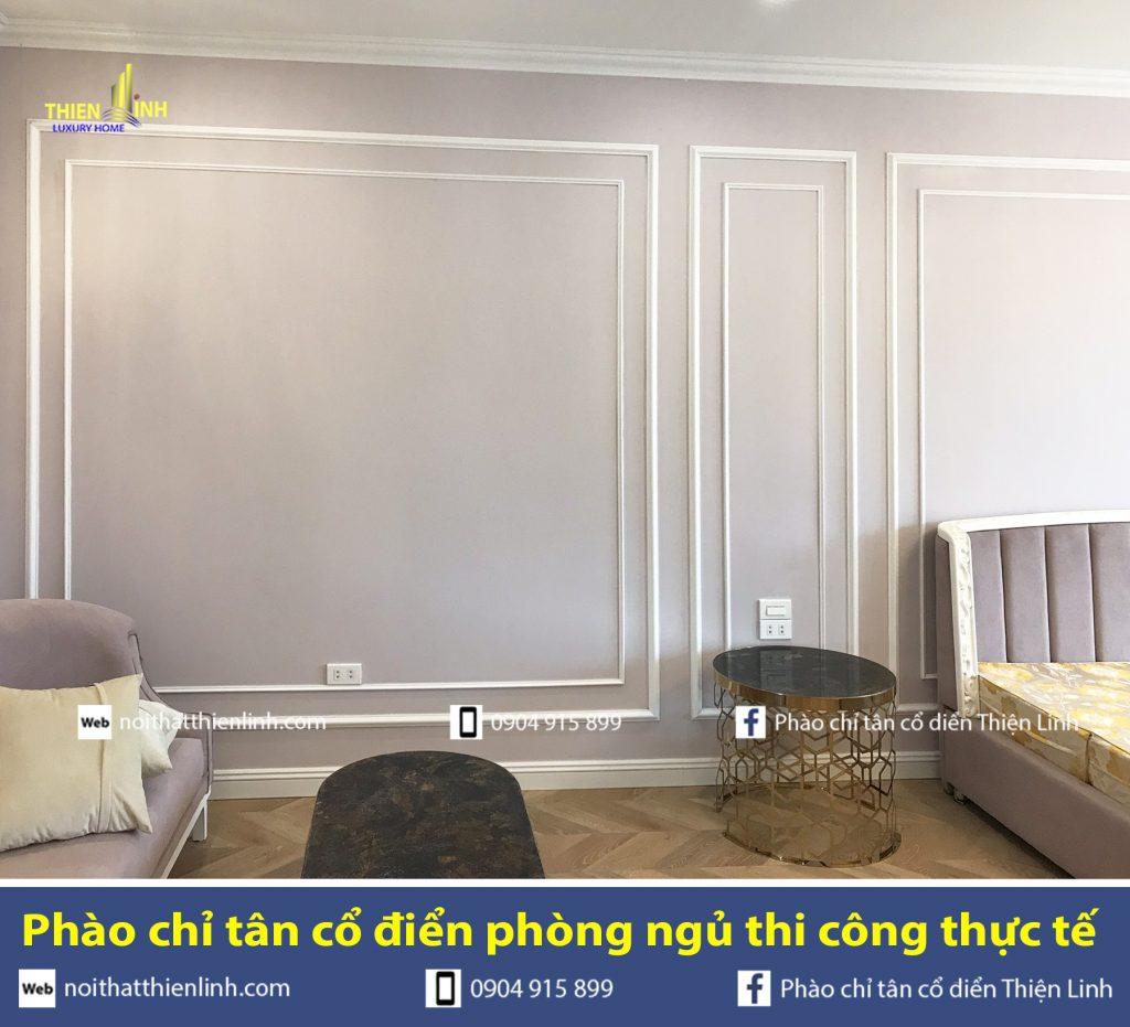 Phào chỉ tân cổ điển phòng ngủ thi công thực tế (5)