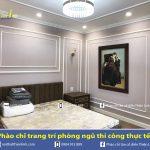Phào chỉ tân cổ điển thi công thực tế phòng ngủ nhà liền kề – Do Thiện Linh thiết kế và thi công