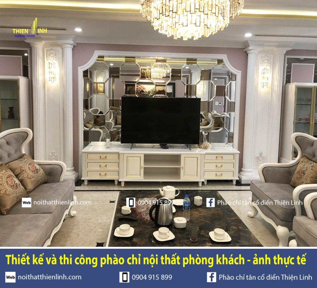 Thiết kế và thi công phào chỉ nội thất phòng khách - ảnh thực tế (1)