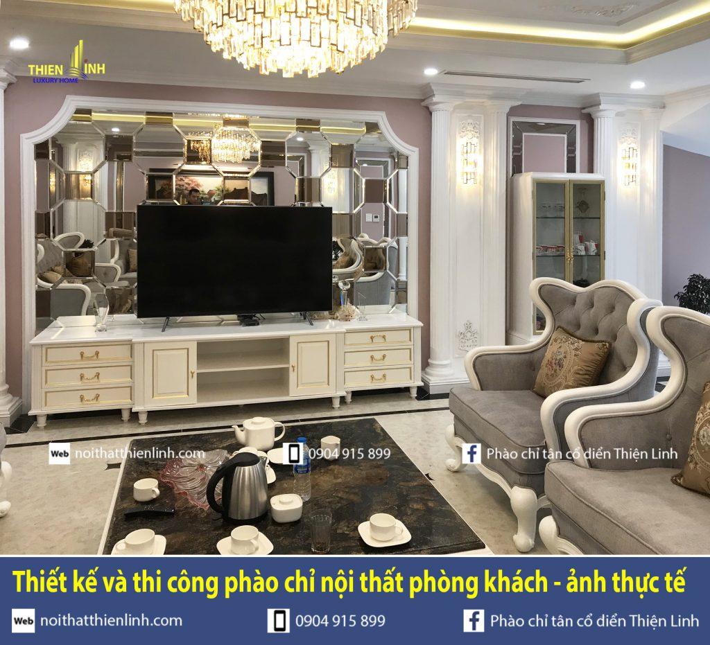 Thiết kế và thi công phào chỉ nội thất phòng khách - ảnh thực tế (2)