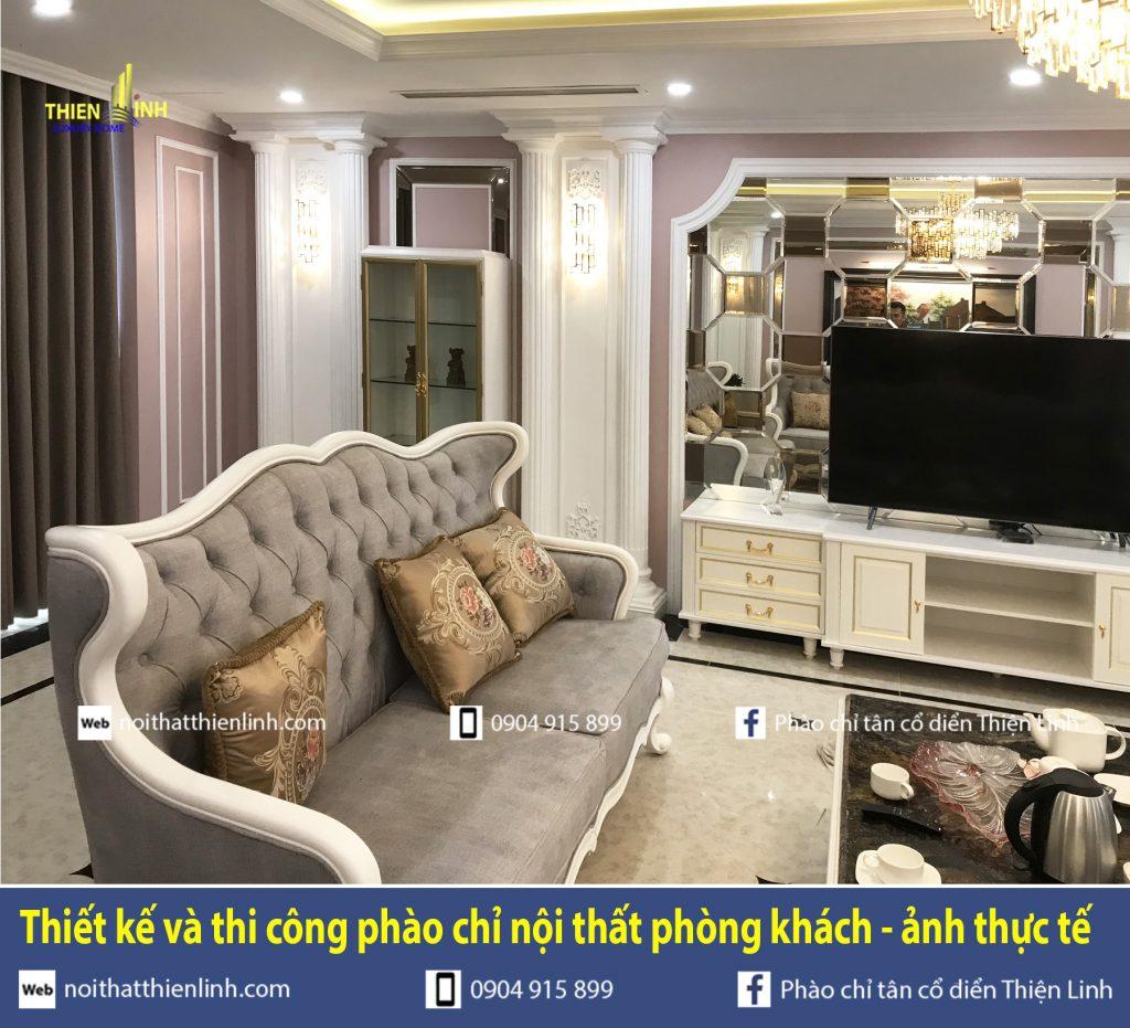 Thiết kế và thi công phào chỉ nội thất phòng khách - ảnh thực tế (3)