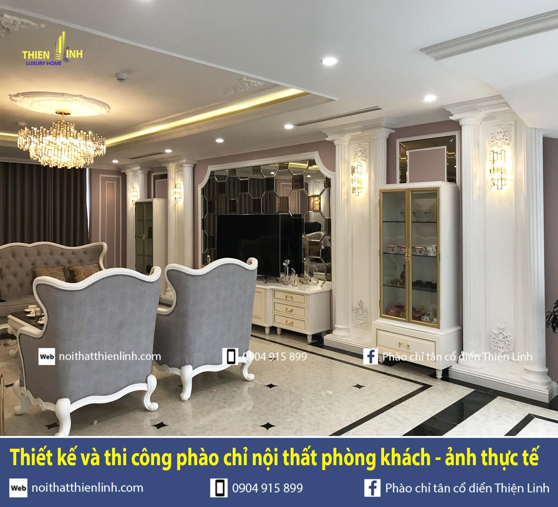 Thiết kế và thi công phào chỉ nội thất phòng khách - ảnh thực tế (4)