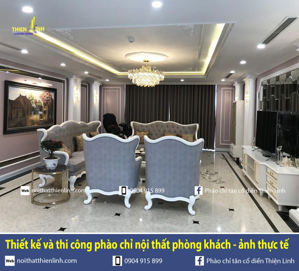 Thiết kế và thi công phào chỉ nội thất phòng khách - ảnh thực tế (5)