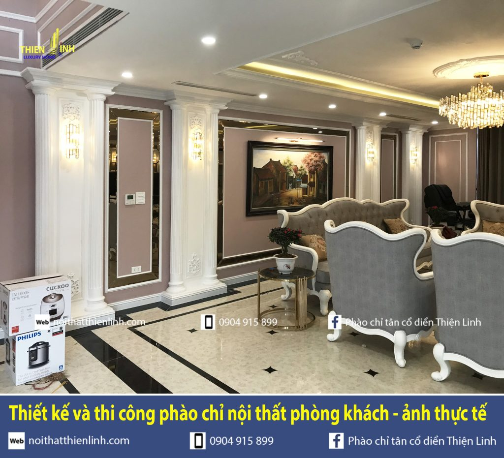 Thiết kế và thi công phào chỉ nội thất phòng khách - ảnh thực tế (8)