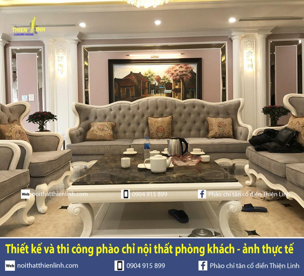 Thiết kế và thi công phào chỉ nội thất phòng khách - ảnh thực tế (9)
