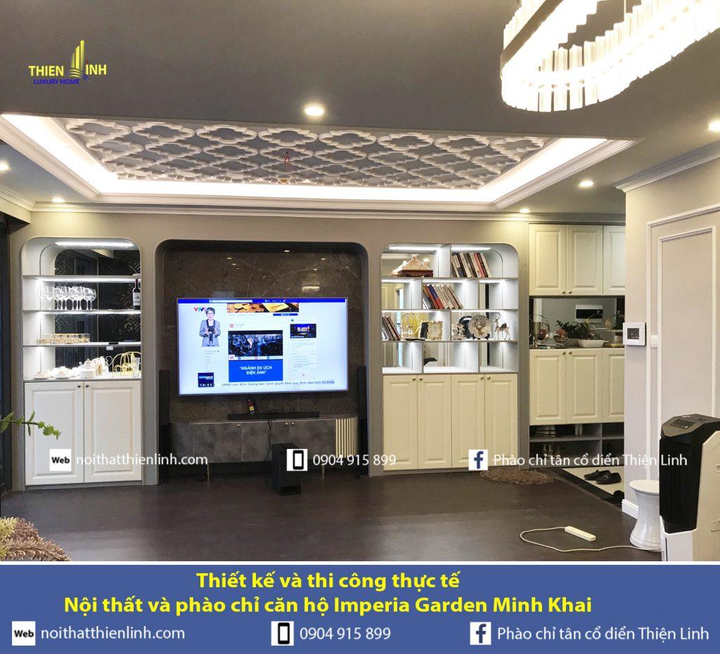 Thiết kế và thi công thực tế -Nội thất và phào chỉ căn hộ Imperia Garden Minh Khai (1)