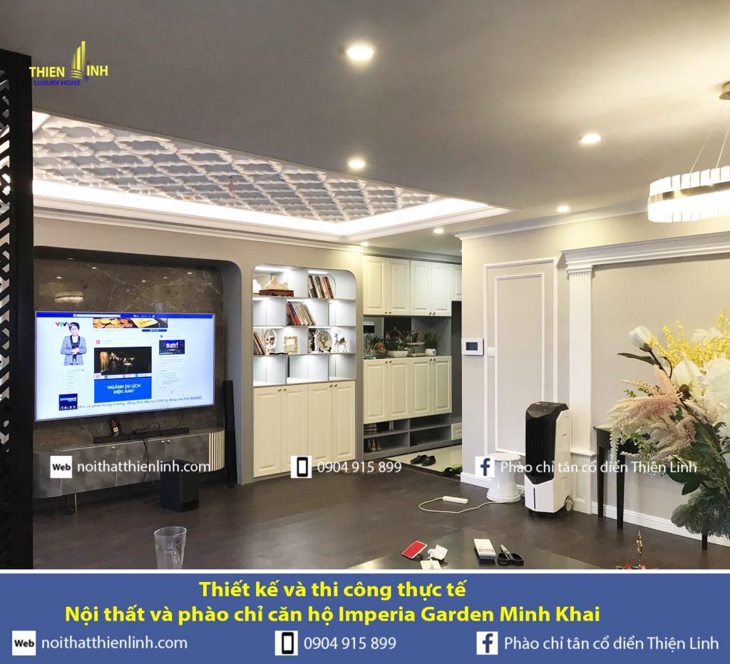 Thiết kế và thi công thực tế -Nội thất và phào chỉ căn hộ Imperia Garden Minh Khai (2)