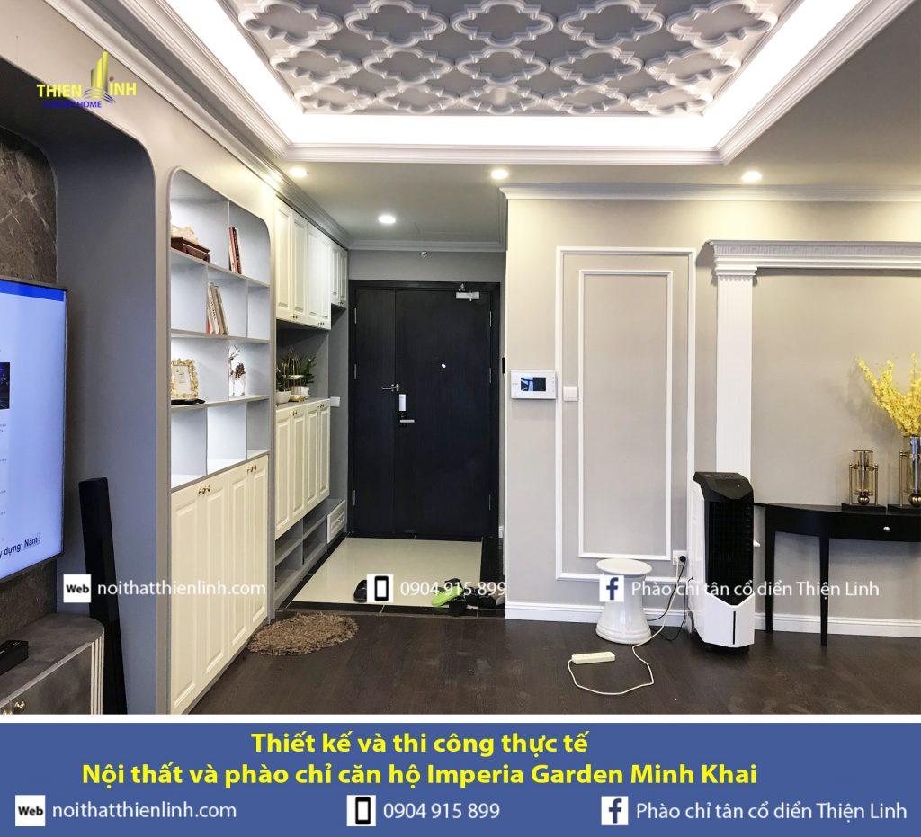 Thiết kế và thi công thực tế -Nội thất và phào chỉ căn hộ Imperia Garden Minh Khai (3)