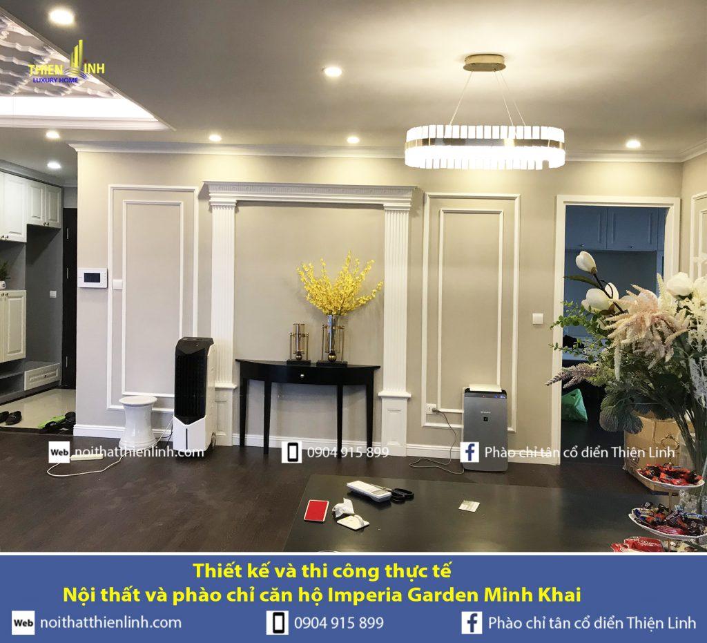 Thiết kế và thi công thực tế -Nội thất và phào chỉ căn hộ Imperia Garden Minh Khai (4)