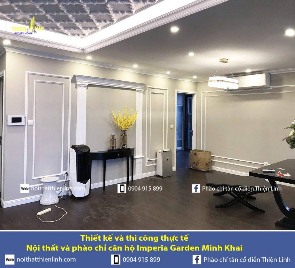 Thiết kế và thi công thực tế -Nội thất và phào chỉ căn hộ Imperia Garden Minh Khai (5)