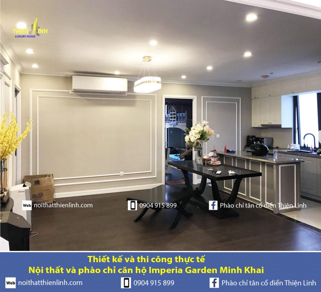 Thiết kế và thi công thực tế -Nội thất và phào chỉ căn hộ Imperia Garden Minh Khai (6)