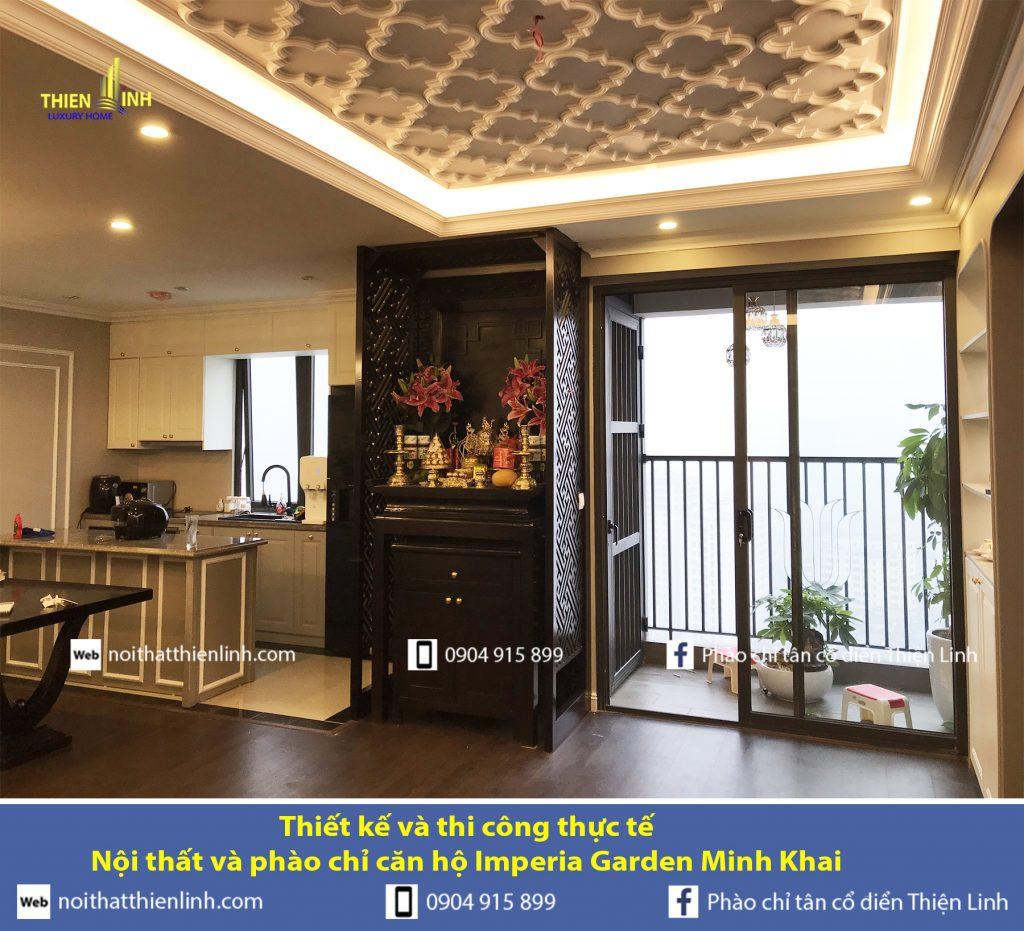 Thiết kế và thi công thực tế -Nội thất và phào chỉ căn hộ Imperia Garden Minh Khai (7)