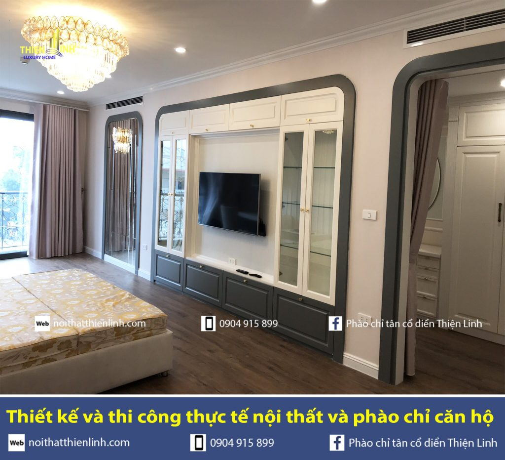 Thiết kế và thi công thực tế nội thất và phào chỉ phòng ngủ (1)
