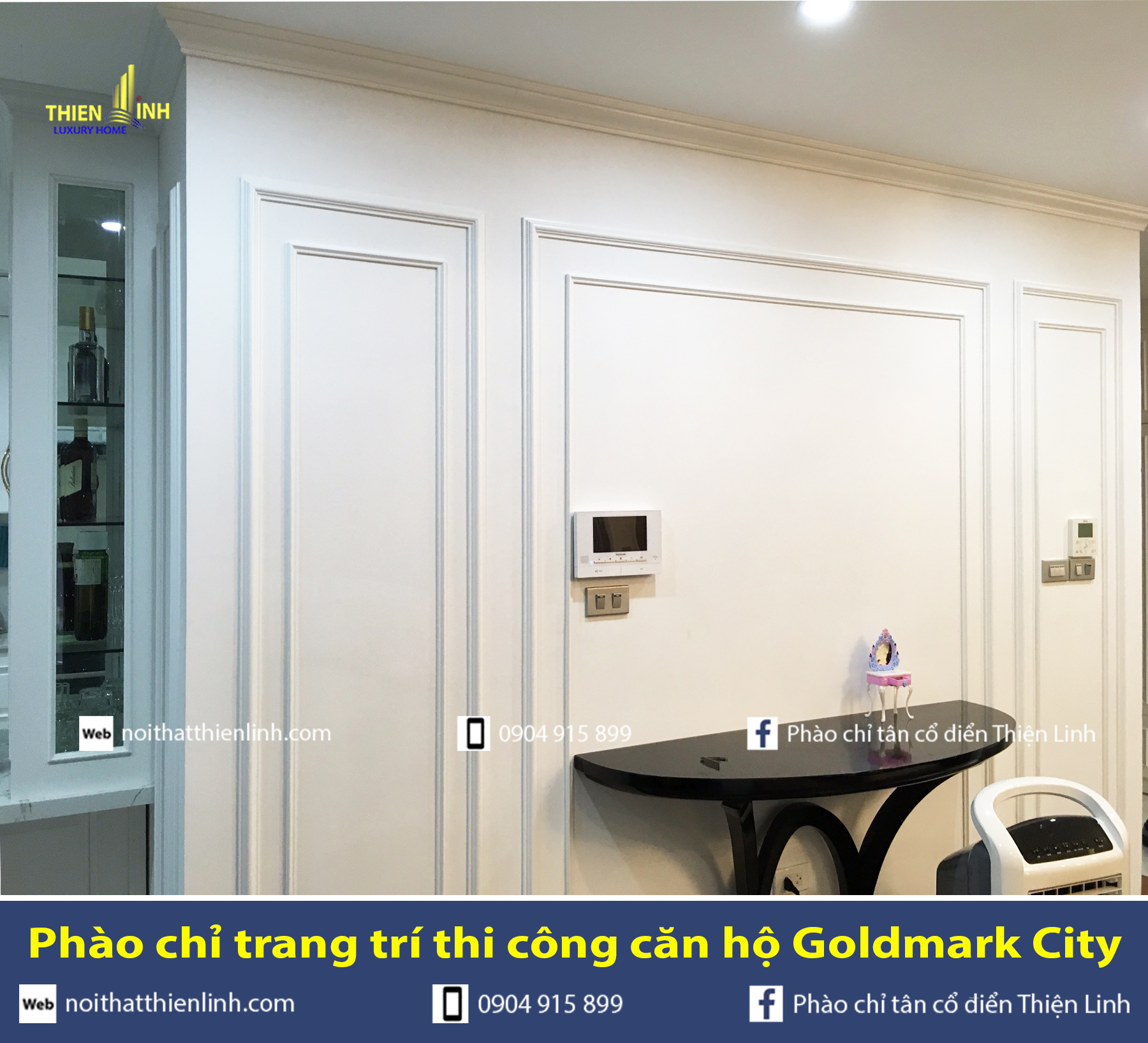 Phào chỉ trang trí thi công căn hộ Goldmark City (11)
