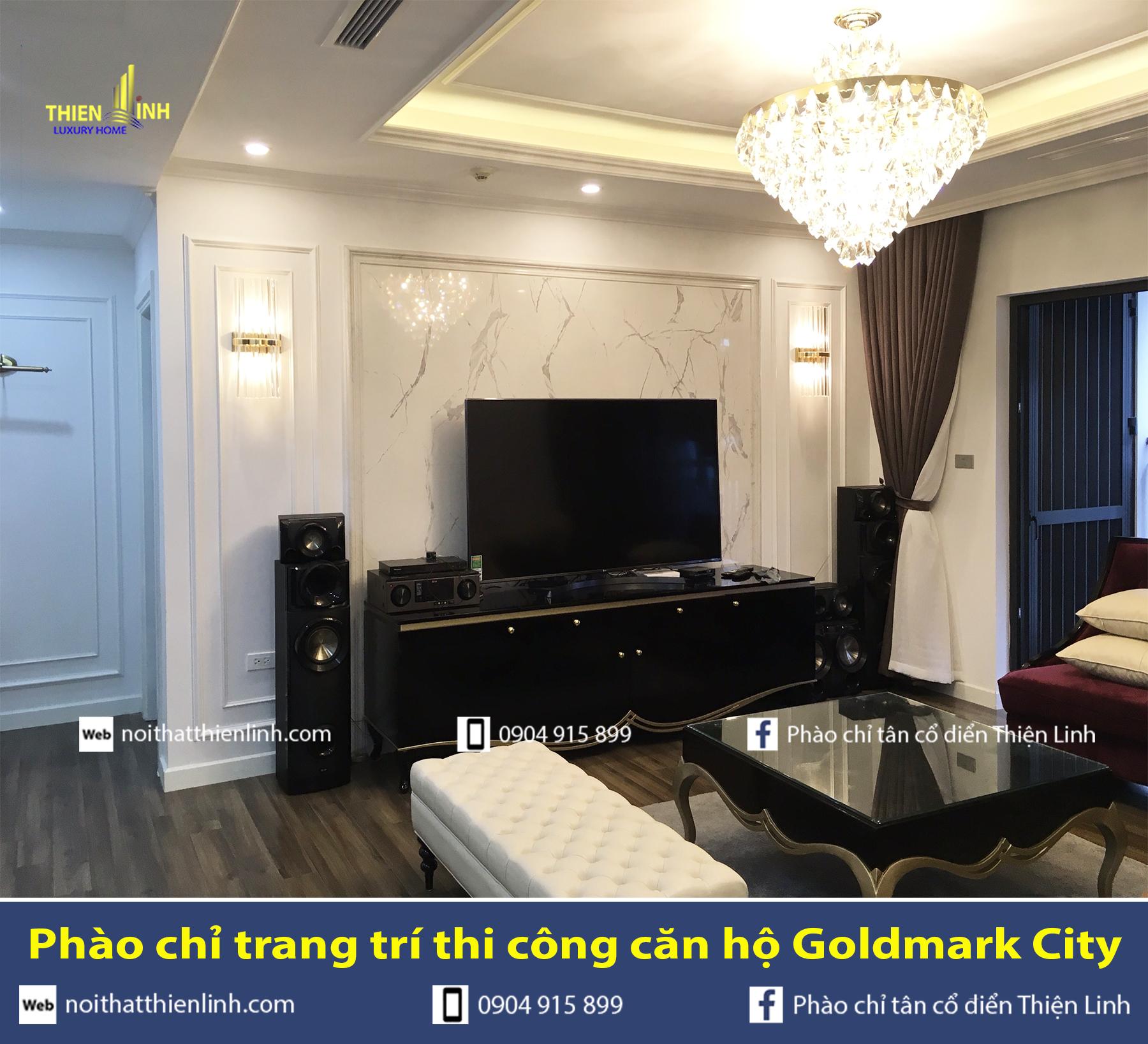 Phào chỉ trang trí thi công căn hộ Goldmark City (2)