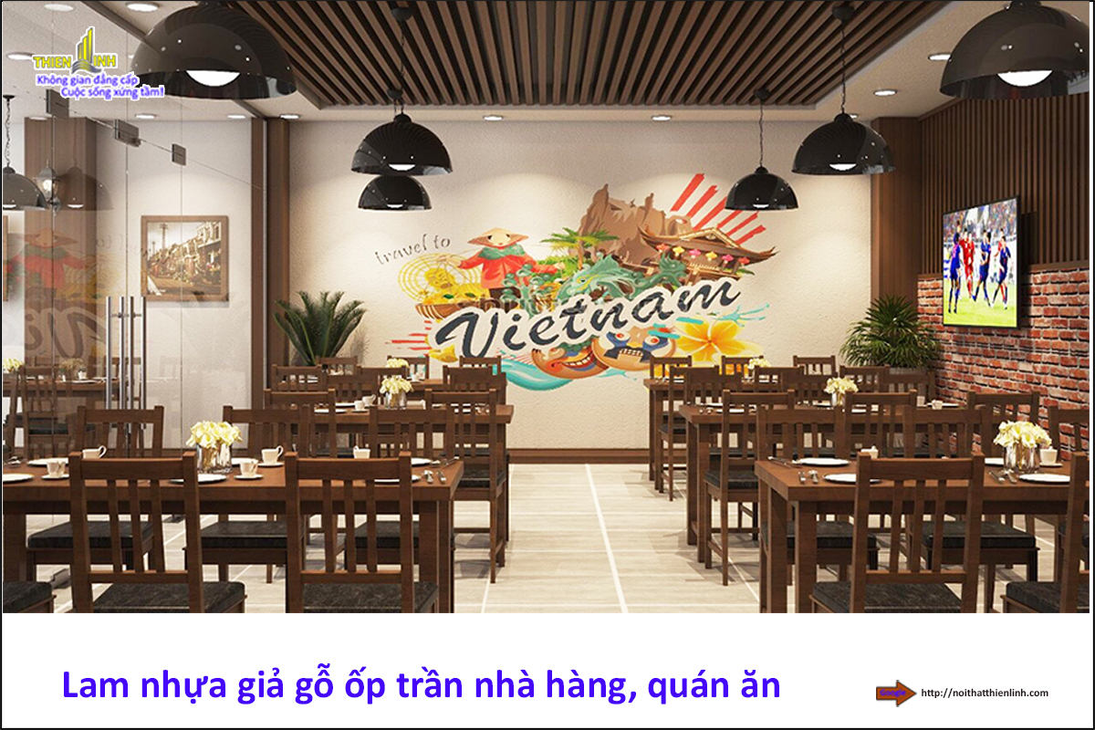 Lam gỗ nhựa ốp trần nhà hàng, quán ăn (1)