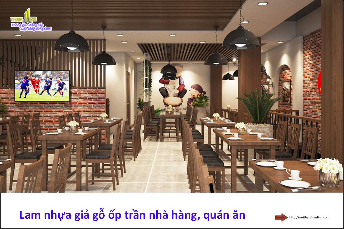 Lam gỗ nhựa ốp trần nhà hàng, quán ăn (2)