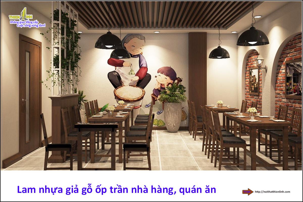 Lam gỗ nhựa ốp trần nhà hàng, quán ăn (3)