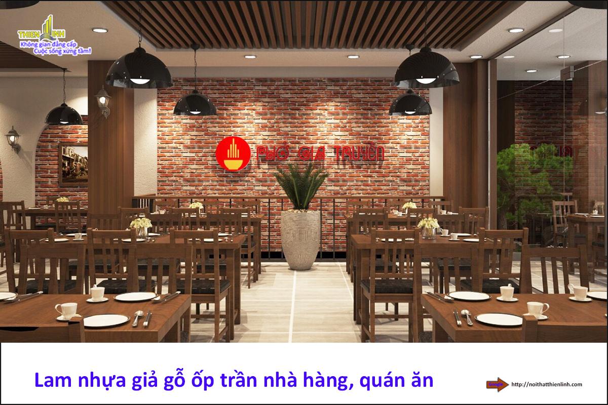Lam gỗ nhựa ốp trần nhà hàng, quán ăn (4)