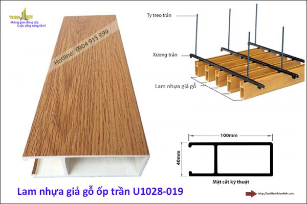 Lam nhựa giả gỗ ốp trần U1028-019
