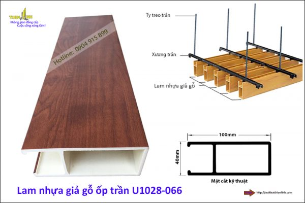 Lam nhựa giả gỗ ốp trần U1028-066