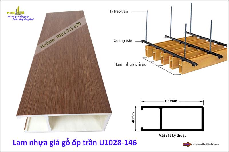 Lam nhựa giả gỗ ốp trần U1028-146