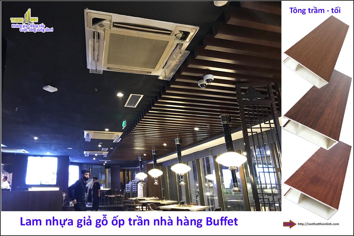 Lam nhựa giả gỗ ốp trần nhà hàng Buffe (1)