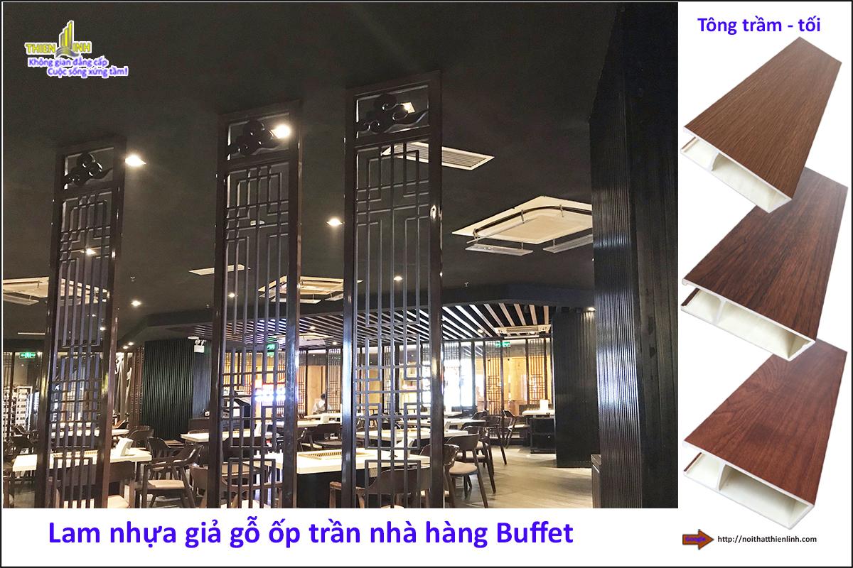 Lam nhựa giả gỗ ốp trần nhà hàng Buffe (2)