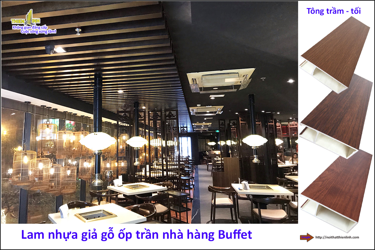 Lam nhựa giả gỗ ốp trần nhà hàng Buffe (3)