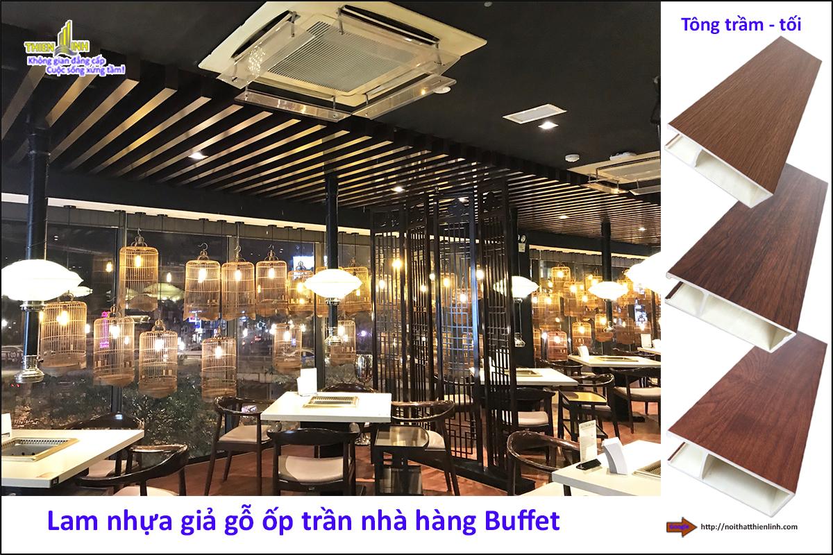 Lam nhựa giả gỗ ốp trần nhà hàng Buffe (5)