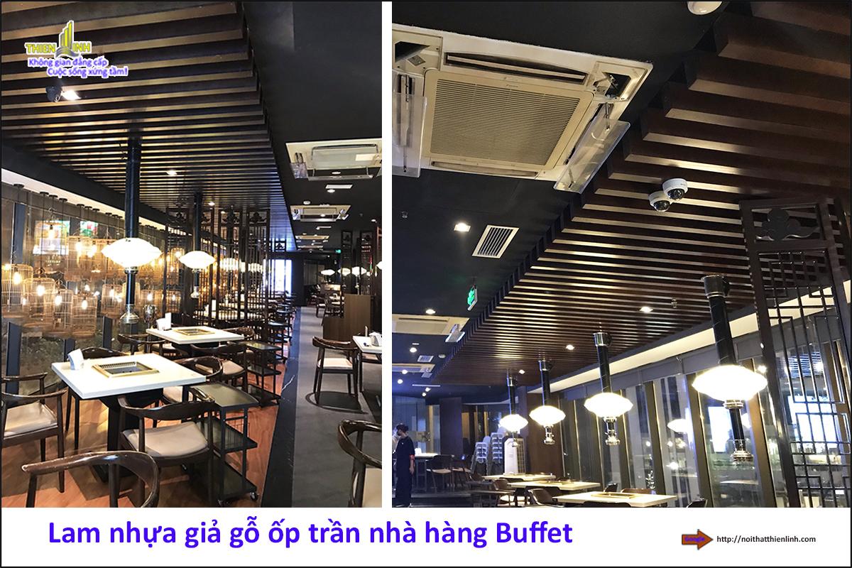 Lam nhựa giả gỗ ốp trần nhà hàng Buffe (6)