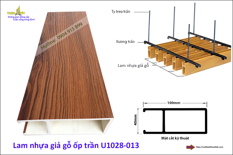 Lam nhựa giả gỗ ốp trần U1028-013