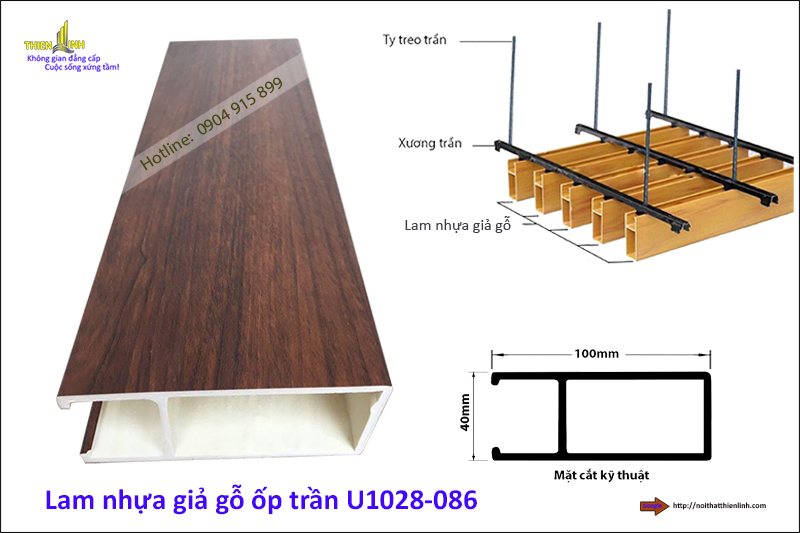 Lam nhựa giả gỗ ốp trần U1028-086