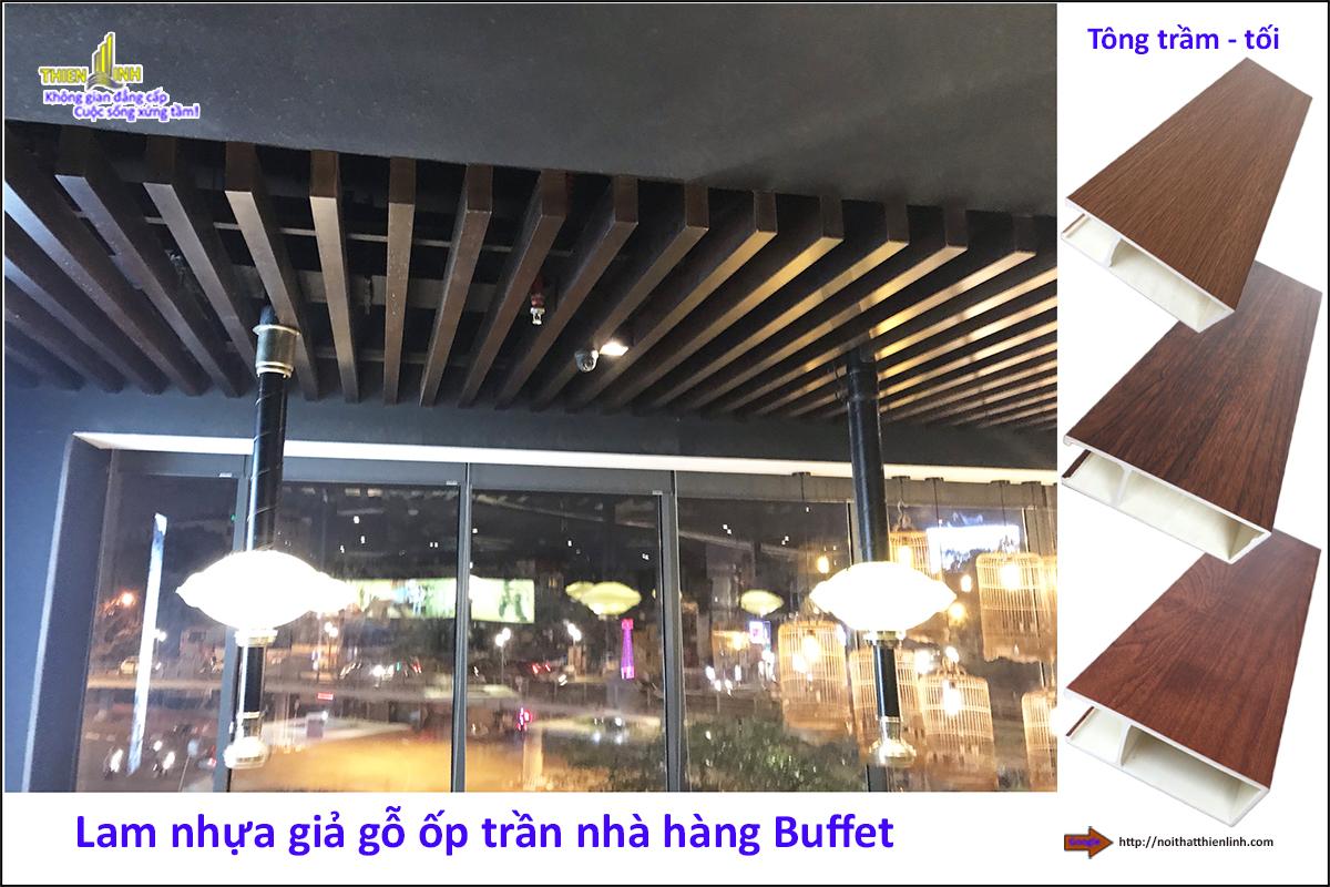 Lam nhựa giả gỗ ốp trần nhà hàng Buffe (4)