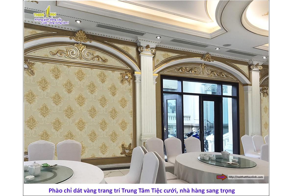 Phào chỉ dát vàng trang trí trung tâm tiệc cưới, nhà hàng sang trọng (4)